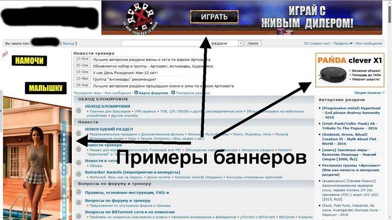 Примеры баннеров на популярном сайте