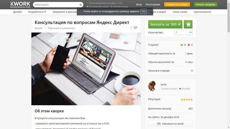 Kwork - Консультация по вопросам Яндекс Директ
