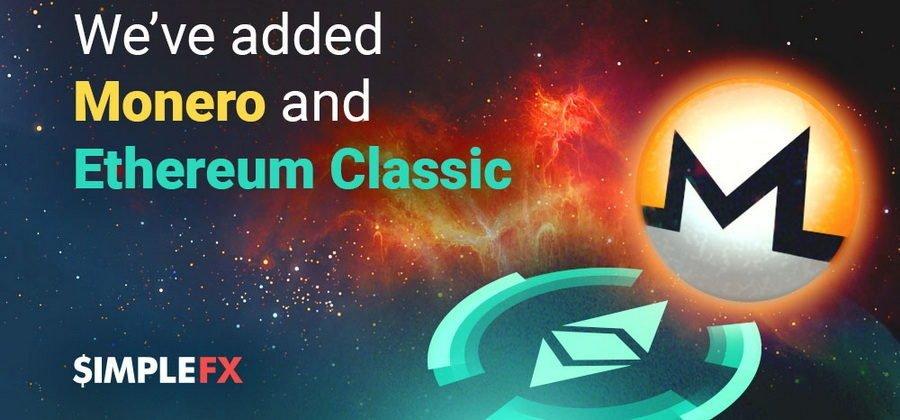 SimpleFX вводит аккаунты в Monero и Ethereum Classic