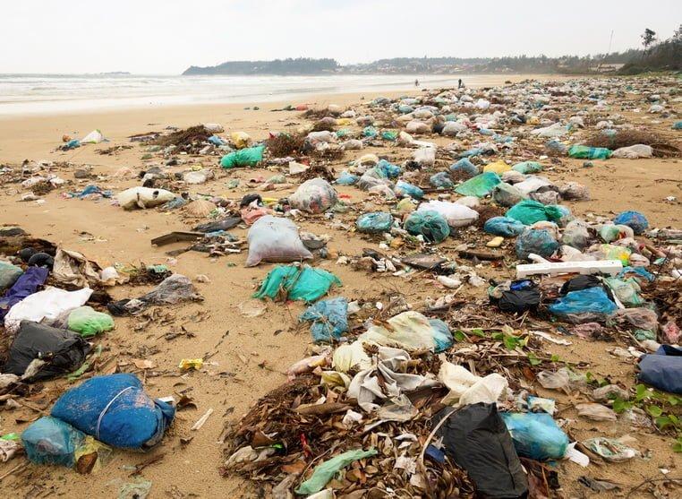 Загрязнение пляжа пластиковыми пакетами