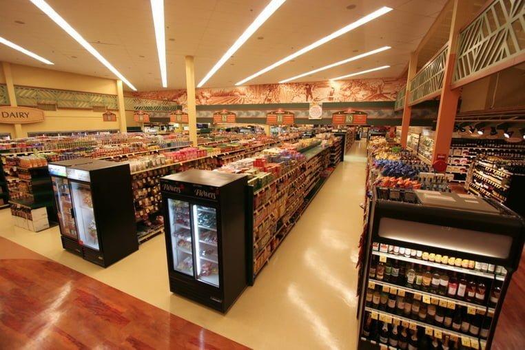 Продуктовый магазин реализует планировку магазина в виде сетки